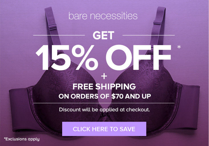 Free shipping is a frequent perk offered by Bare Necessities so check back often if Top Brands & Savings · % Verified Coupons · + Coupons Available.